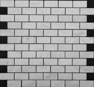 VM149 Carrara Honed Brickbond Mosaic