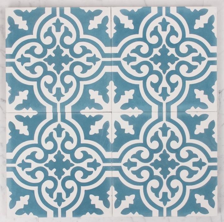 535 Flower Pattern Teal Amp White M2 Tiles